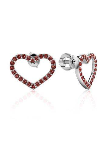 Heart Shaped Studs With Red Crystals The Aurora								, image