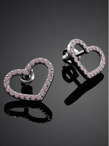 Sparkling Heart Shaped Studs With Light Pink Crystals The Aurora, image , picture 2