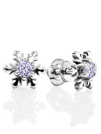 Silver Snowflake Stud Earrings With Lilac Crystals The Aurora, image
