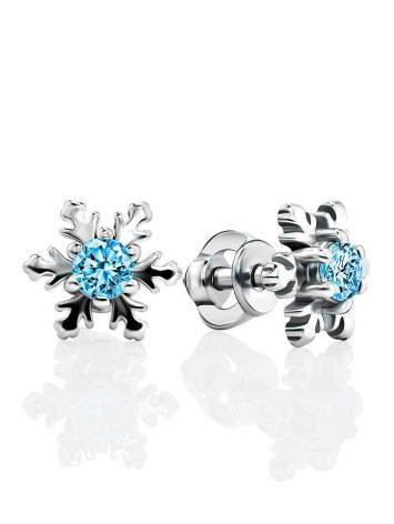 Silver Snowflake Studs With Crystals The Aurora, image