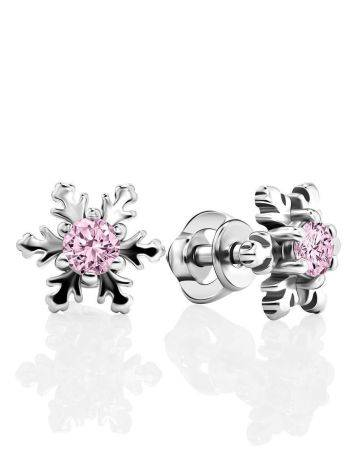 Silver Snowflake Stud Earrings With Light Pink Crystals The Aurora, image