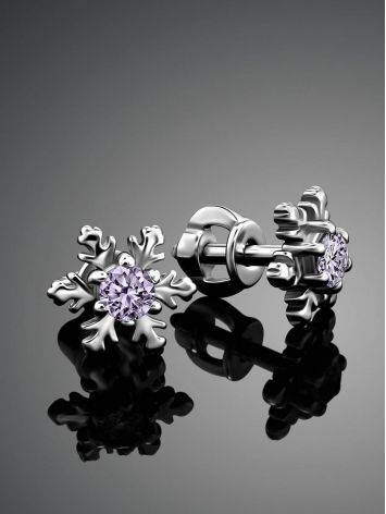 Silver Snowflake Stud Earrings With Lilac Crystals The Aurora, image , picture 2