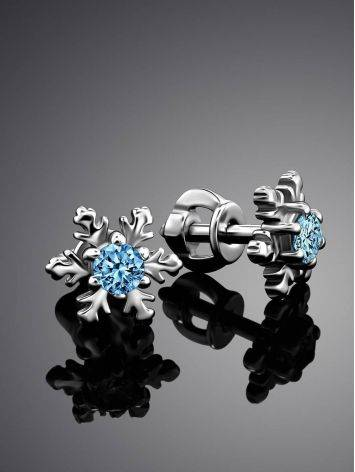 Silver Snowflake Studs With Crystals The Aurora, image , picture 2