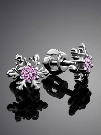 Silver Snowflake Stud Earrings With Light Pink Crystals The Aurora, image , picture 2