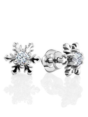 Silver Snowflake Stud Earrings With Crystals The Aurora									, image