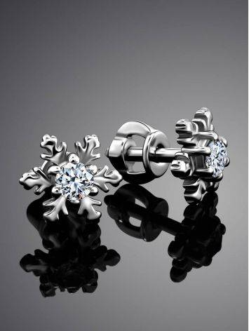 Silver Snowflake Stud Earrings With Crystals The Aurora									, image , picture 2