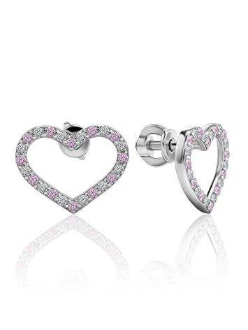 Open Heart Shaped Studs With White And Lilac Crystals The Aurora						, image