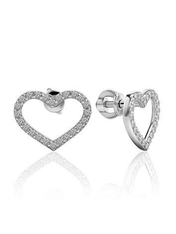 Sparkling Open Heart Shaped Studs With Crystals The Aurora				, image