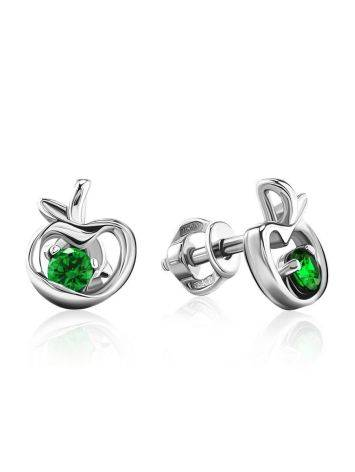 Silver Stud Earrings With Green Crystals The Aurora								, image
