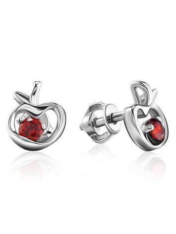 Abstract Silver Stud Earrings With Red Crystals The Aurora, image