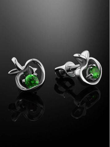 Silver Stud Earrings With Green Crystals The Aurora								, image , picture 2