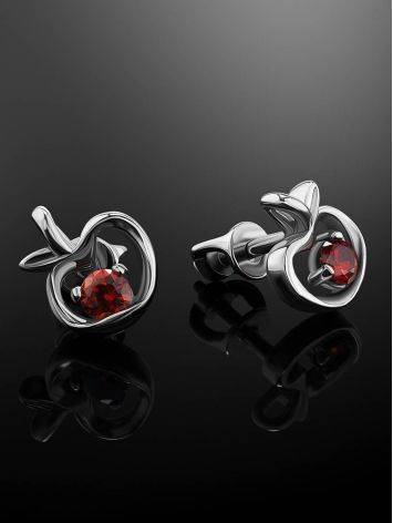 Abstract Silver Stud Earrings With Red Crystals The Aurora, image , picture 2
