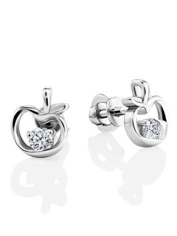 Silver Stud Earrings With White Crystals The Aurora								, image