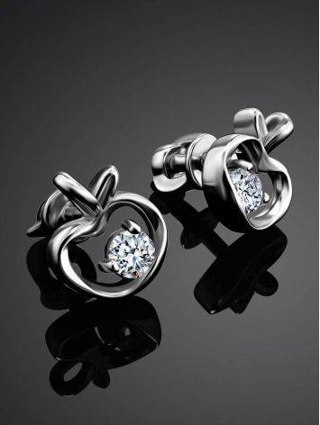 Silver Stud Earrings With White Crystals The Aurora								, image , picture 2