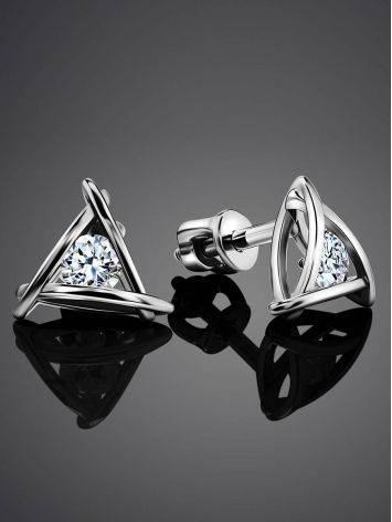 Triangle Silver Studs With Crystals The Aurora								, image , picture 2