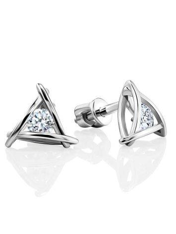 Triangle Silver Studs With Crystals The Aurora								, image
