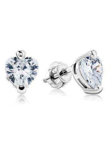 White Crystal Stud Earrings In Silver The Aurora						, image