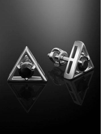 Triangle Silver Studs With Black Crystals The Aurora, image , picture 2