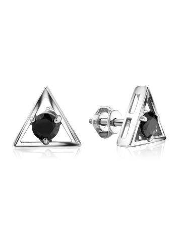 Triangle Silver Studs With Black Crystals The Aurora, image
