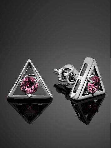 Triangle Silver Studs With Pink Crystals The Aurora							, image , picture 2