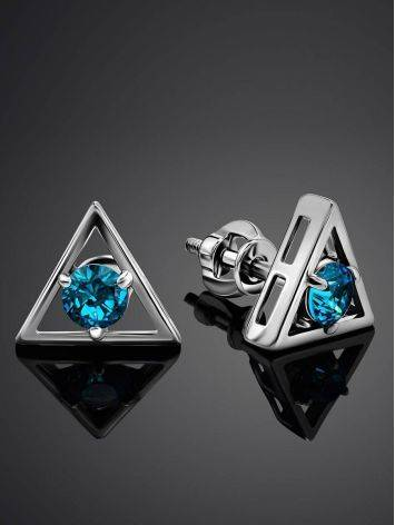 Triangle Silver Studs With Light Blue Crystals The Aurora, image , picture 2