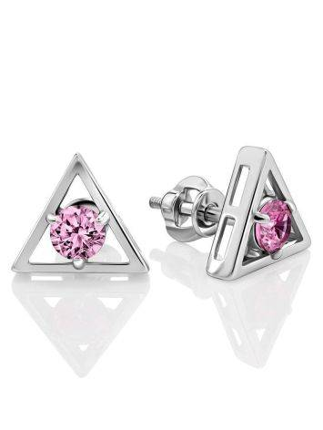 Triangle Silver Studs With Pink Crystals The Aurora							, image
