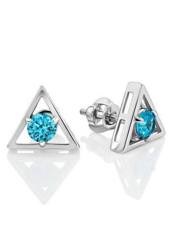 Triangle Silver Studs With Light Blue Crystals The Aurora, image