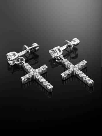 Sparkling Silver Cross Drop Earrings The Aurora, image , picture 2