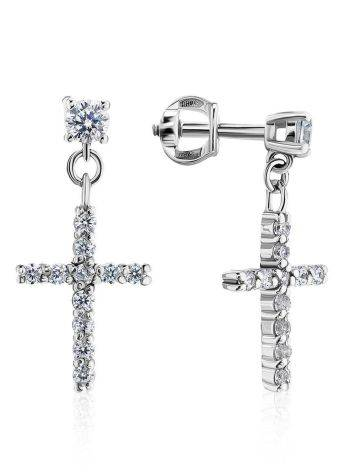 Sparkling Silver Cross Drop Earrings The Aurora, image