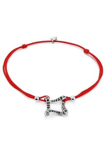Red Lace Friendship Bracelet With Black Crystal Charm							, Length: 16, image
