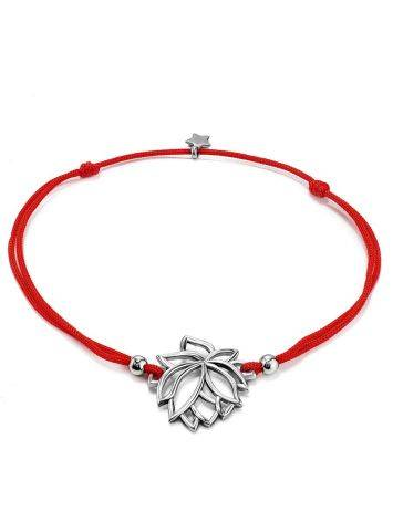 Red Lace Friendship Bracelet With Lotus Charm 							, Length: 16, image