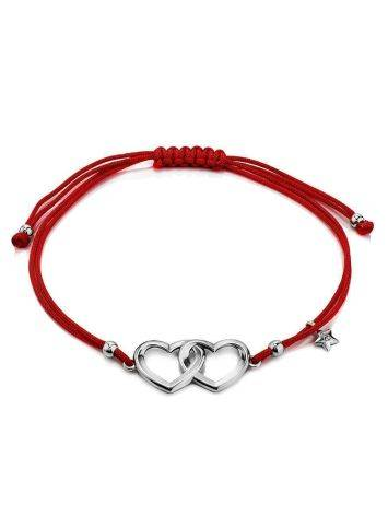 Red Lace Friendship With Linked Heart Charm								, image