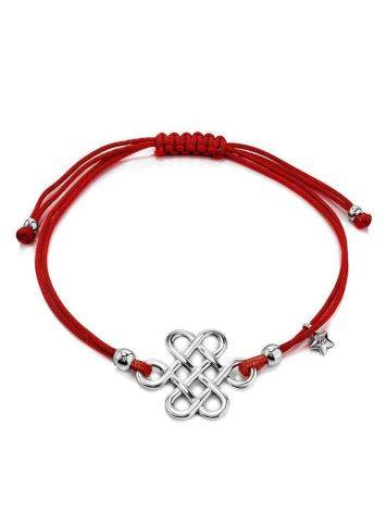 Red Lace Friendship Bracelet With Silver Charm								, image