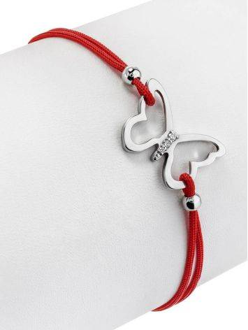 Red Lace Friendship Bracelet With Butterfly Charm, image , picture 3