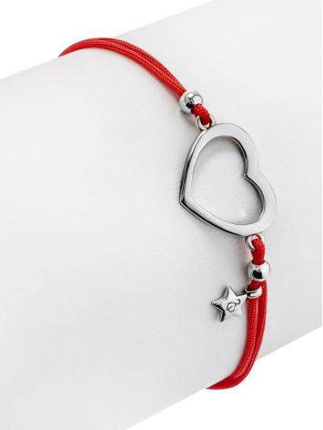 Red Lace Friendship Bracelet With Heart Charm						, image , picture 3
