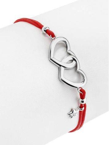 Red Lace Friendship With Linked Heart Charm								, image , picture 3
