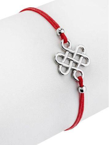 Red Lace Friendship Bracelet With Silver Charm								, image , picture 3