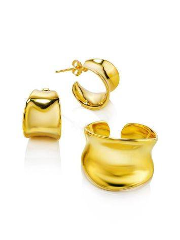 ​Gold-plated sterling silver creole stud hoop earrings, image , picture 3