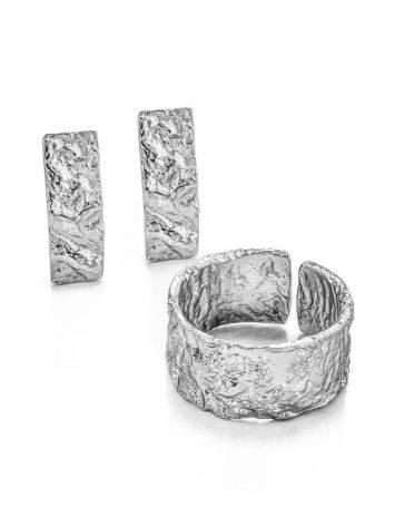 Antiqued finish stylish silver ring, image , picture 4