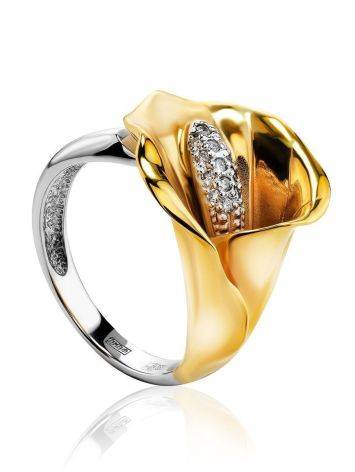 Golden Cocktail Ring With White Diamonds, Ring Size: 7 / 17.5, image