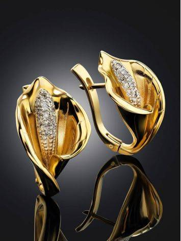 Diamond Floral Earrings In Gold, image , picture 2