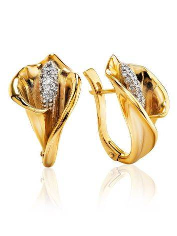 Diamond Floral Earrings In Gold, image