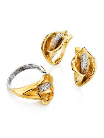Diamond Floral Earrings In Gold, image , picture 3