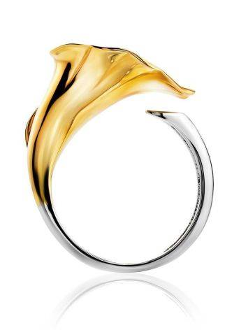 Golden Cocktail Ring With White Diamonds, Ring Size: 7 / 17.5, image , picture 3