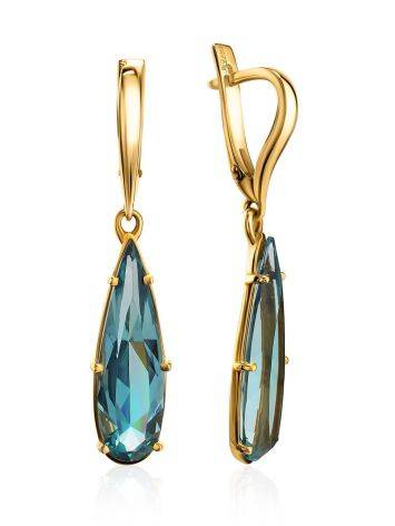 Bold Golden Drop Earrings With Aquamarine, image