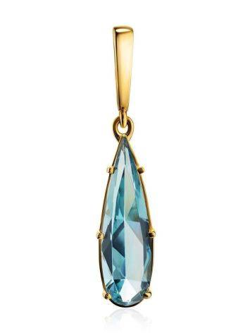 Classy Golden Pendant With Aquamarine, image