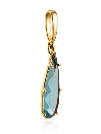 Classy Golden Pendant With Aquamarine, image , picture 3
