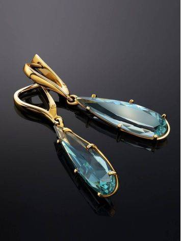 Bold Golden Drop Earrings With Aquamarine, image , picture 2