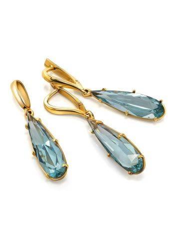 Classy Golden Pendant With Aquamarine, image , picture 4