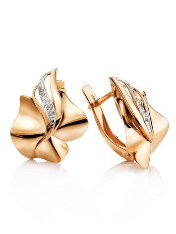 Golden Earrings With Crystal Rows, image
